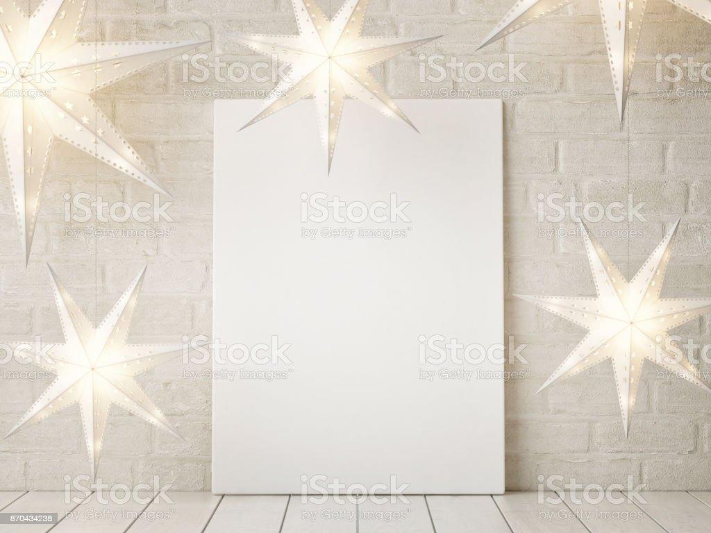 Mock-up Poster mit Sternen Weihnachtsdekoration – Foto