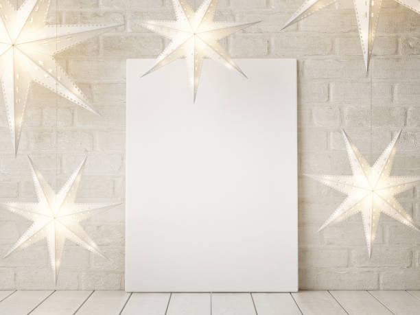 mock-up poster mit sternen weihnachtsdekoration - schild mode stock-fotos und bilder