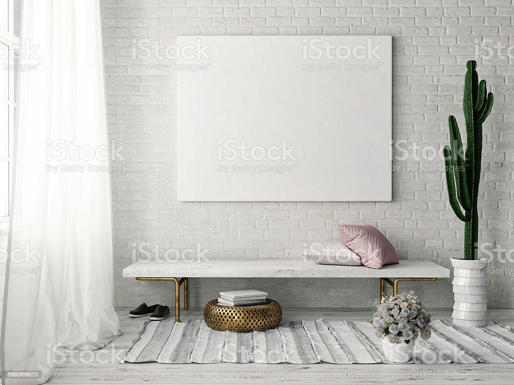 Mock up poster with vintage hipster loft interior background