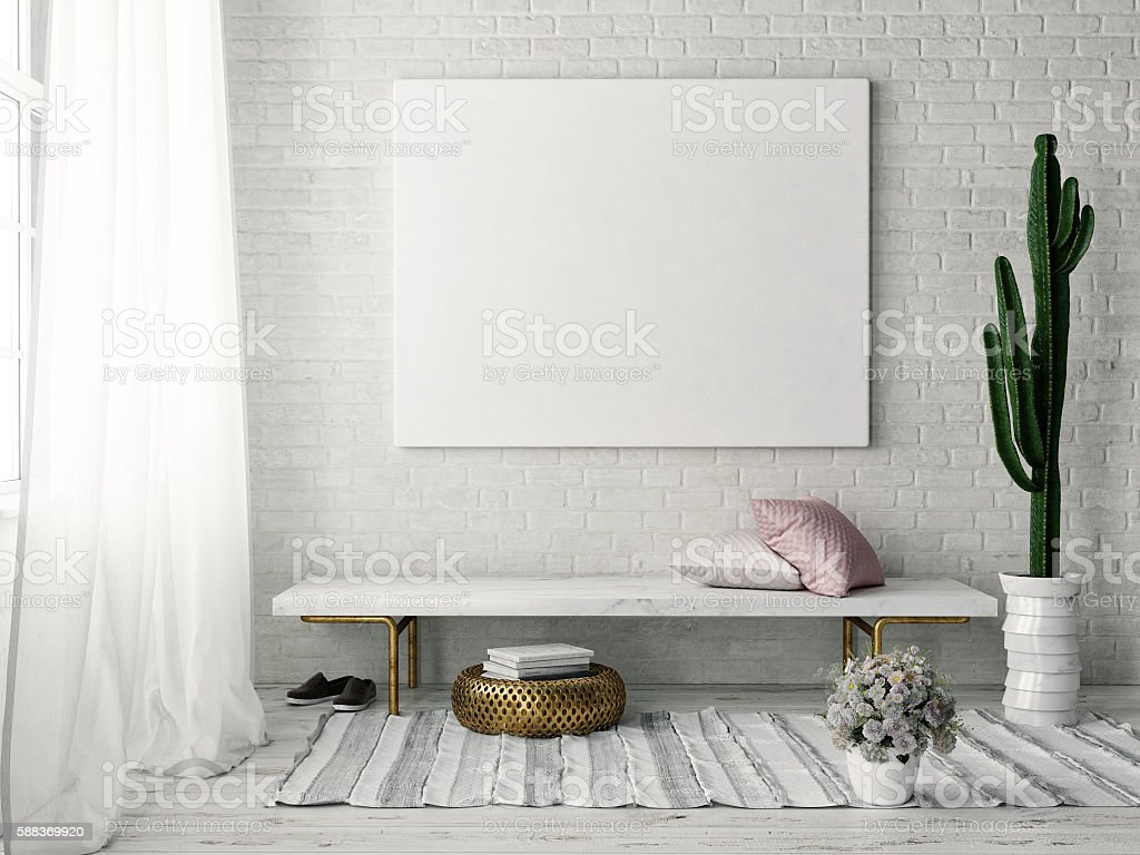 Mock up poster with vintage hipster loft interior background bildbanksfoto