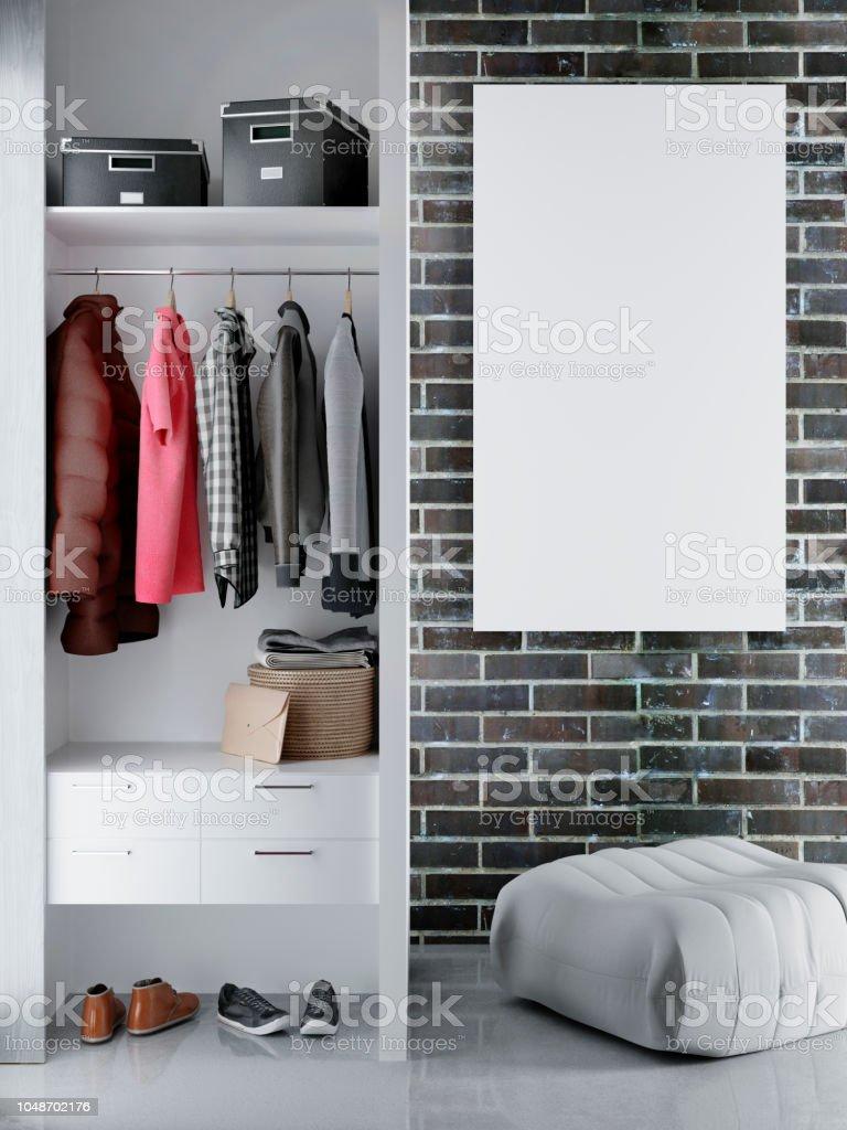 Mock Up Poster With Vintage Hipster Loft Wardrobe Interior ...