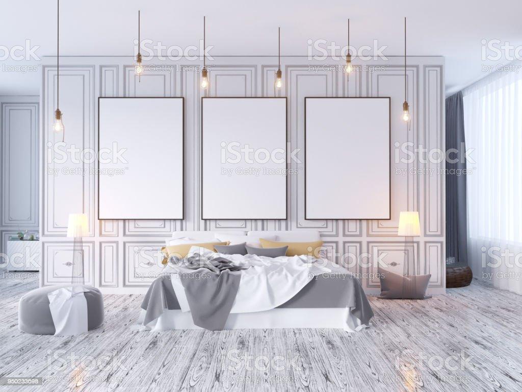 Mockup poster mit vintage pastell hipster minimalismus loft