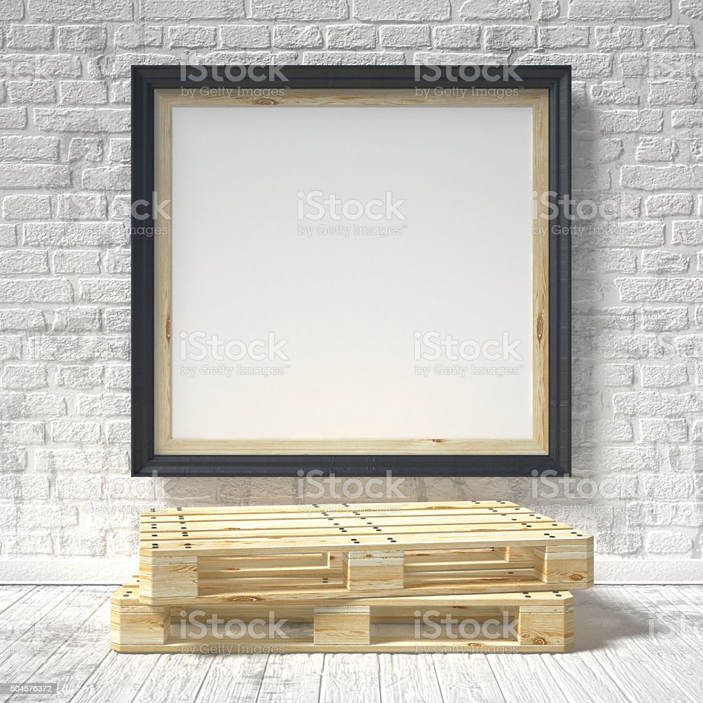 Mock up poster with wooden pallet. 3D stock photo