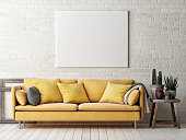 Mock up poster with yellow sofa, cactus and wooden frame