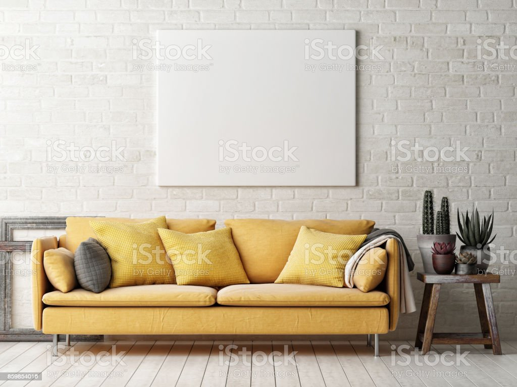 Mock up poster with yellow sofa, cactus and wooden frame stock photo