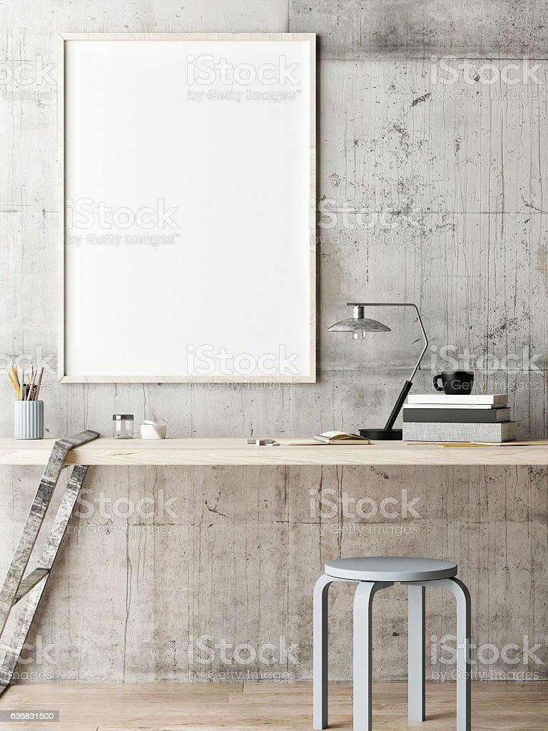 Mock up poster, work office idea stock photo