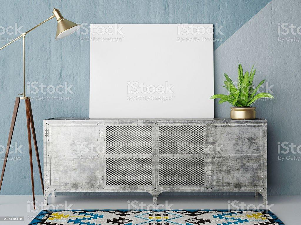 Mock up posteron retro chest of drawers, hipster interior background - foto de acervo