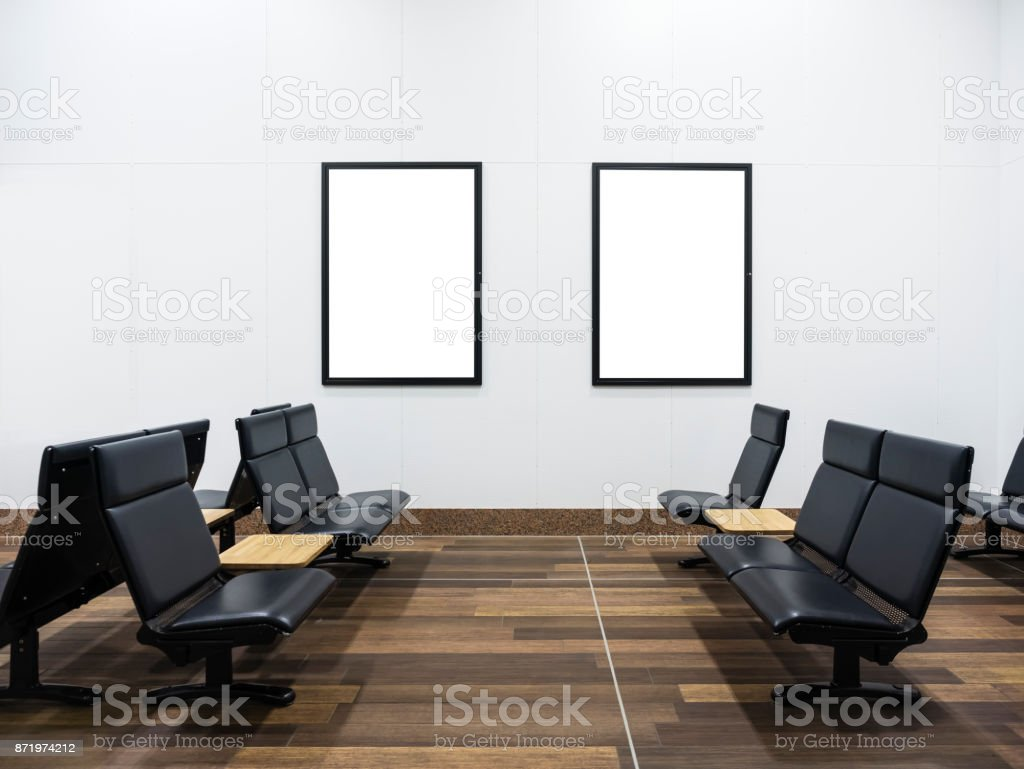 Mock up Posters display in Public waiting room stock photo