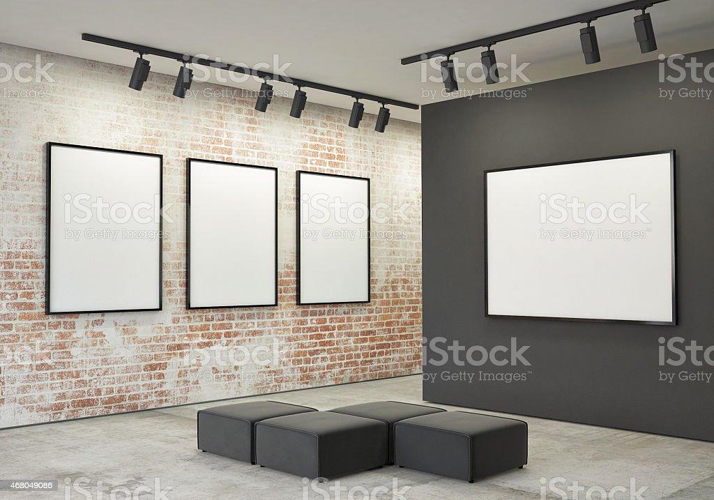 Posters In Interieur : Mock up poster rahmen und leinen in galerie interieur im