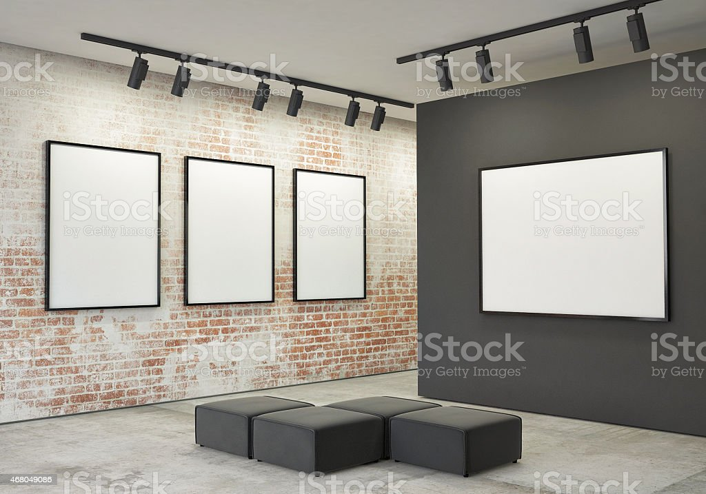 mock up posters frames and canvas in gallery interior background stock photo