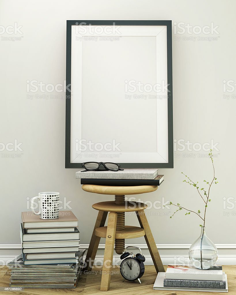 Mock Up Posters Frames And Canvas In Loft Interior Background Stock ...