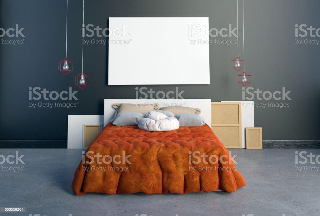 Mockup Poster Im Schlafzimmer Inneren Schlafzimmerhipsterstil 3d