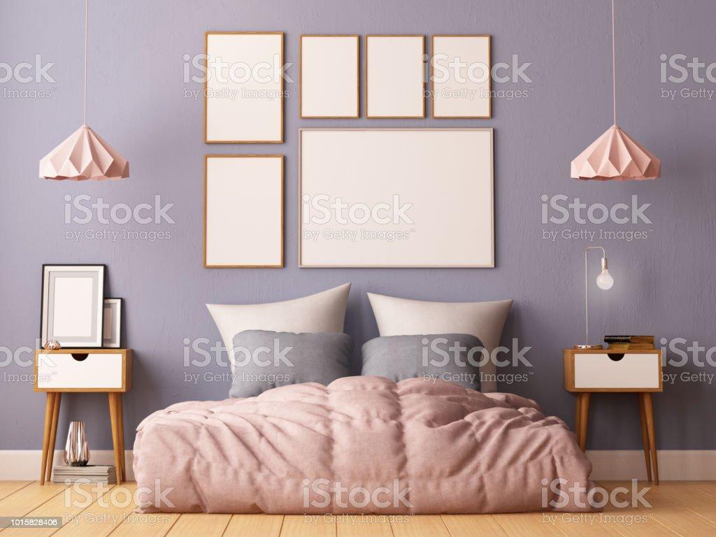 Mockup Poster Im Schlafzimmer Inneren Inneren Hipsterstil 3d ...