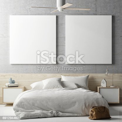 istock Mock up posters in bedrooms 691294462