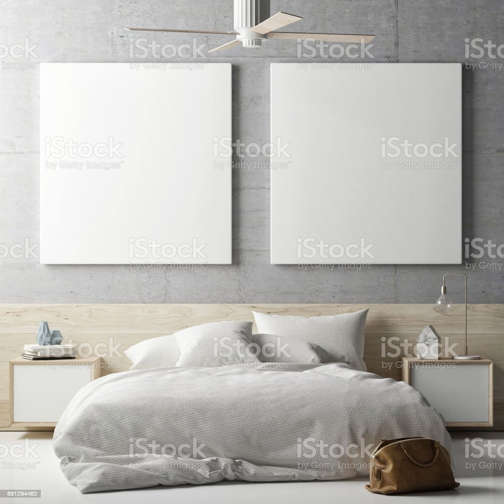 Mock up posters in bedrooms stock photo