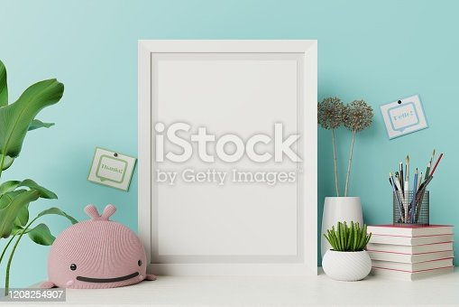 istock Mock up posters in child room interior and blue wall. 1208254907