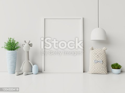 istock Mock up posters in child room interior. 1204333419