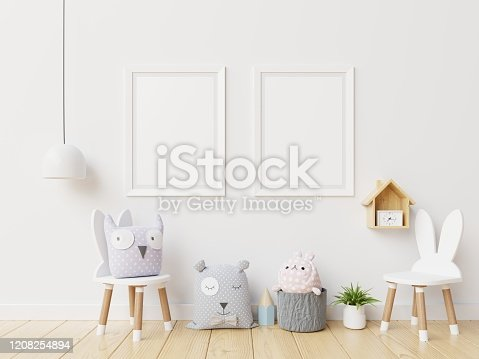 1208254898 istock photo Mock up posters in child room interior. 1208254894