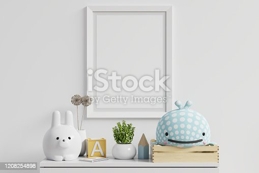 istock Mock up posters in child room interior. 1208254898