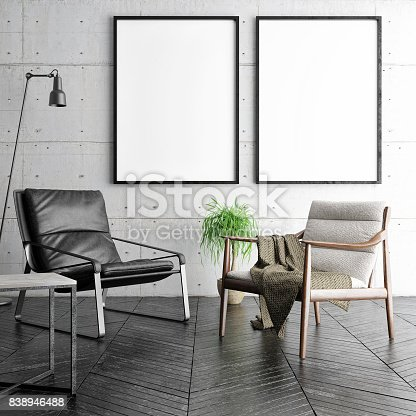 istock Mock up posters  in hipster living room, 838946488