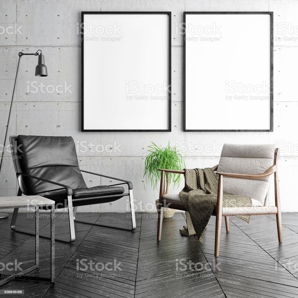 Mock-up Poster in Hipster Wohnzimmer, – Foto