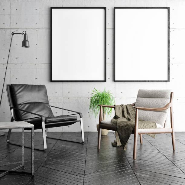 mock-up poster in hipster wohnzimmer, - schild mode stock-fotos und bilder