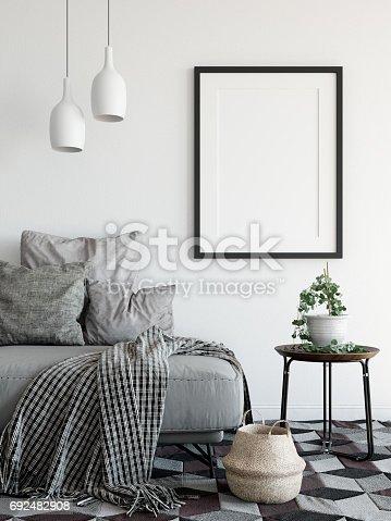 istock mock up posters in living room interior. Interior scandinavian style. 3d rendering, 3d illustration 692482908