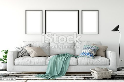 istock mock up posters in living room interior. Interior scandinavian style. 3d rendering, 3d illustration 692485112
