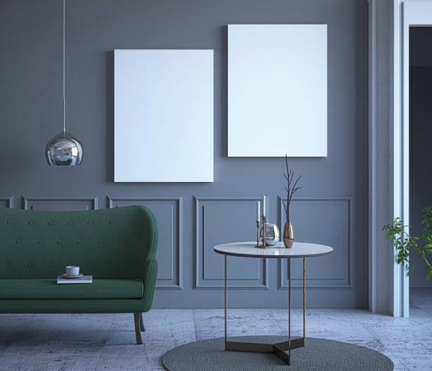 mock-up poster in lux-wohnzimmer - malerei türen stock-fotos und bilder