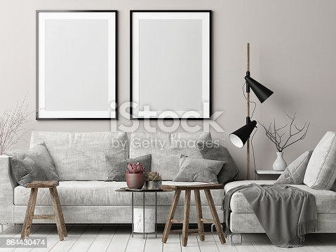 istock Mock up posters in Nordic hipster living room 864430474