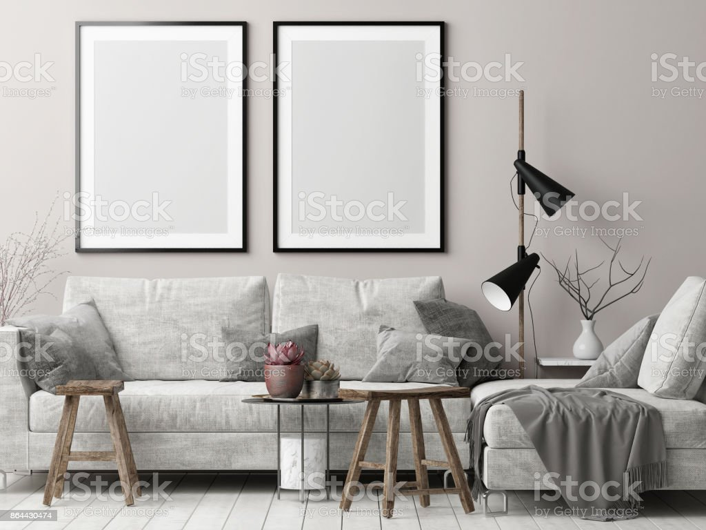 Se moquer des affiches dans la salle de séjour de hipster nordique - Photo