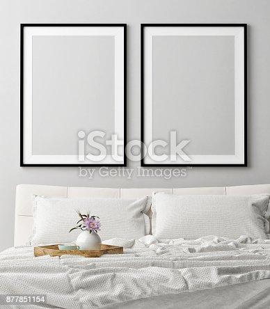 istock Mock up posters in romantic bedroom, dream 877851154