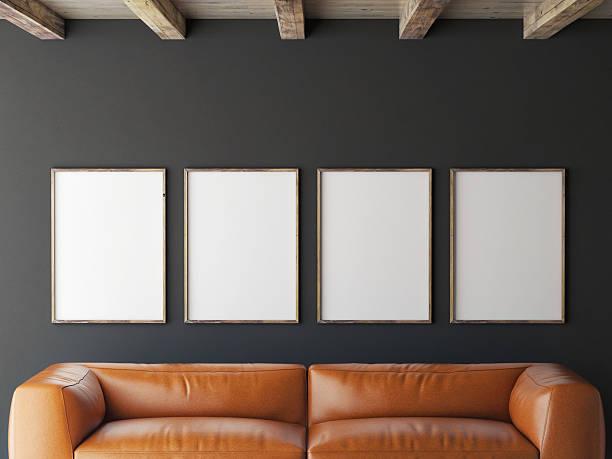 mock up Poster auf graue Wand 3d-illustration – Foto