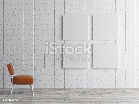istock mock up posters on pattern wall, 3d illustration 470848652