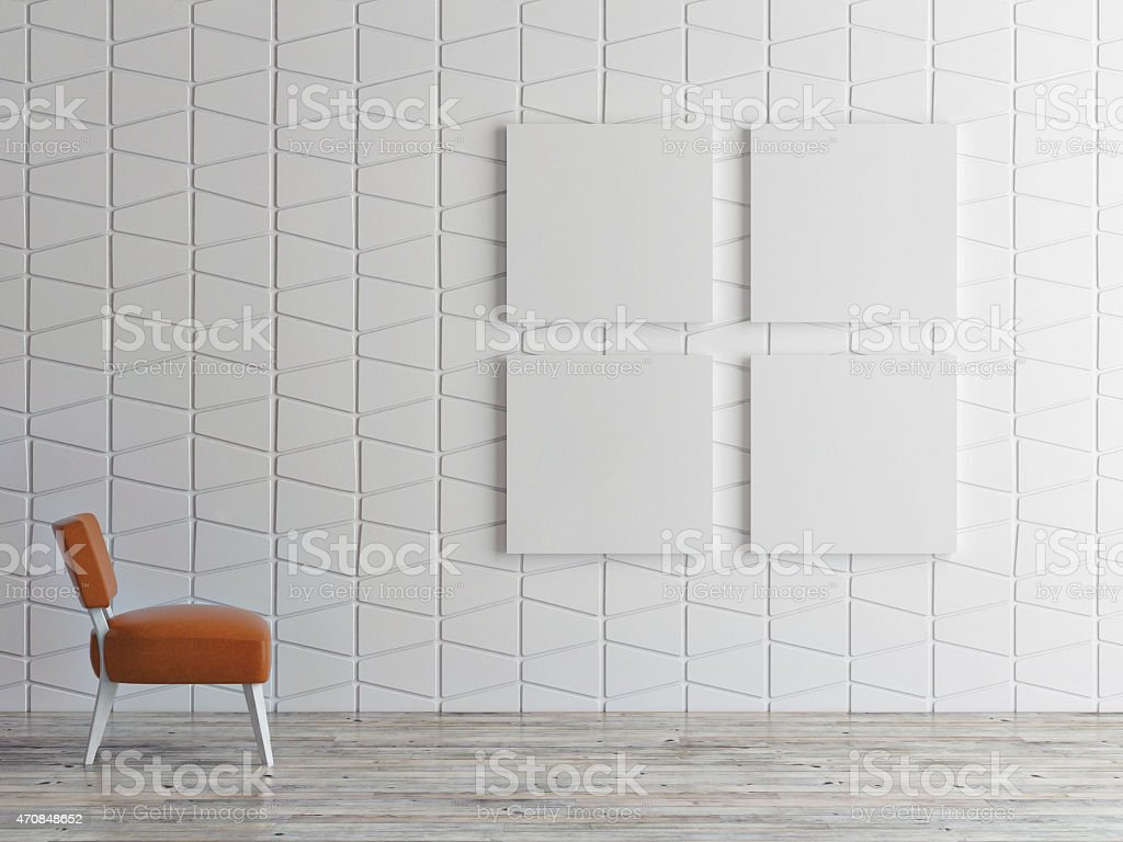 mock up posters on pattern wall, 3d illustration stock photo