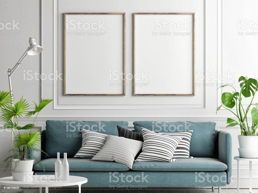 Mock-up Poster, Pastell, bequemes Sofa, Wohnzimmer Stil – Foto