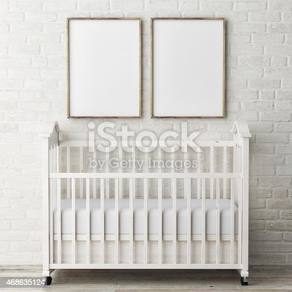 619975932 istock photo Mock up posters with baby bed, 3d illustration 468635124