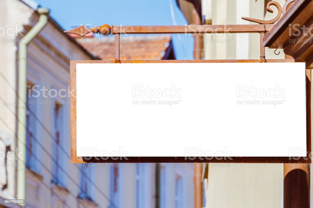 Mock up. Rectangular shape signboard on classical architecture building. royalty-free stock photo