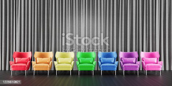 847512708 istock photo Mock Up Room With Colorful Chairs 3d render 1225610821