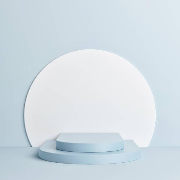 Mock-up-Szene blaue Geometrie Podium, Hintergrund für Produkt-Rendering – Foto
