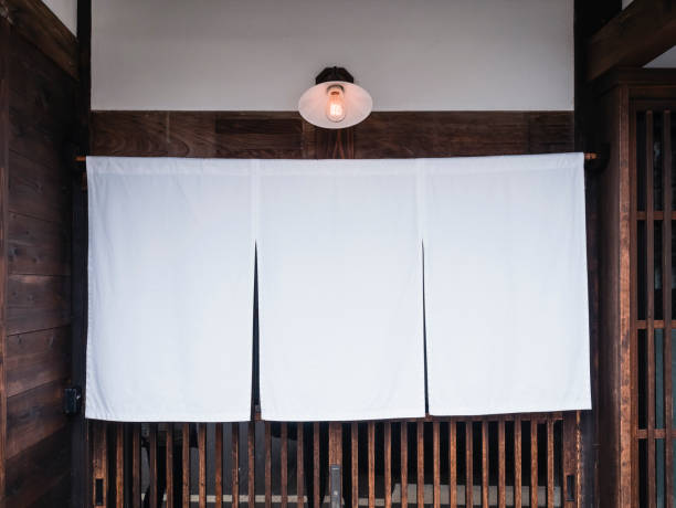 Mock up Sign Japan Shop Traditional style white cloth hanging stock photo