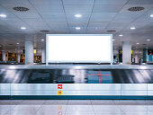Mock up Signboard Airport Luggage Carousel Conveyor with Baggages on conveyor belt