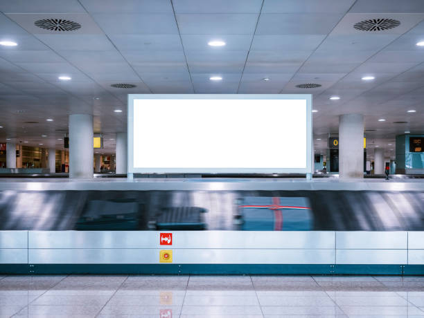 Mock up Signboard Airport Luggage Carousel Conveyor Mock up Signboard Airport Luggage Carousel Conveyor with Baggages on conveyor belt airport stock pictures, royalty-free photos & images