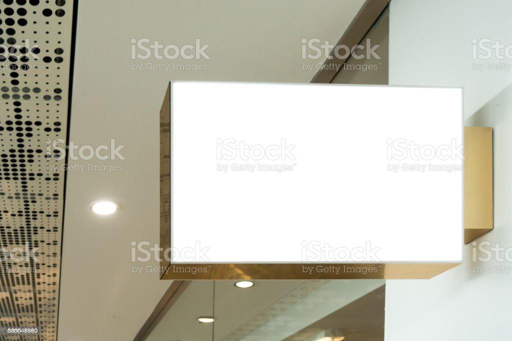 Mock up. Letrero de tienda, tienda. Forma rectangular foto de stock libre de derechos