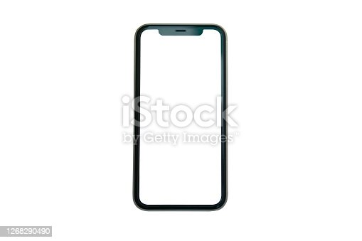 Mock up smart phone empty screen isolated with clipping path