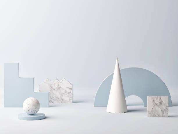 Mock-up Studioraum, Siegerpräsentation, blauer Hintergrund – Foto