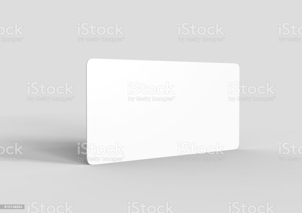 Mock up template blank white empty rounded corners gift voucher card on the grey background. For graphic design or presentation, 3D rendering illustration. stock photo