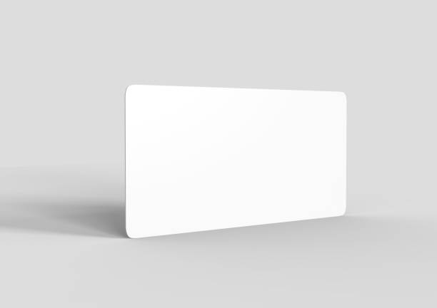 Mock up template blank white empty rounded corners gift voucher card on the grey background. For graphic design or presentation, 3D rendering illustration. Mock up template blank white empty rounded corners gift voucher card on the grey background. For graphic design or presentation. gift card stock pictures, royalty-free photos & images