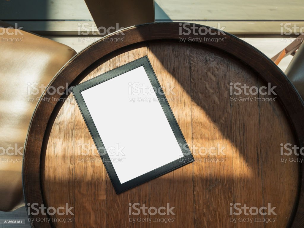 Mock up template Menu on cafe Table stock photo