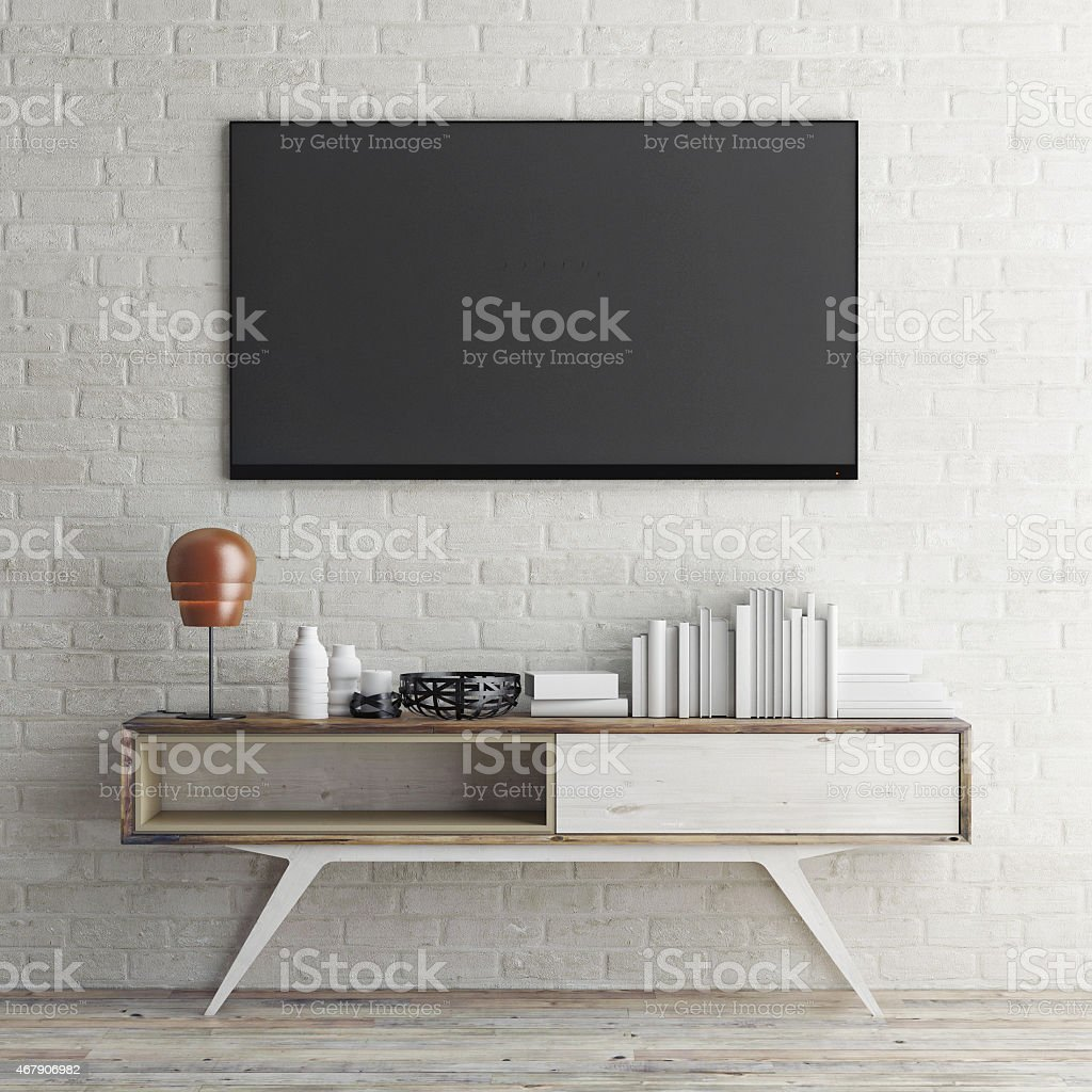 mock up tv on white brick wall, 3d illustration stock photo